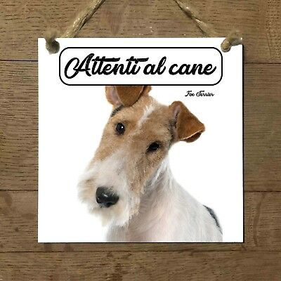 Fox Terrier a pelo duro 1 Attenti al cane Targa cane cartello ceramic tiles