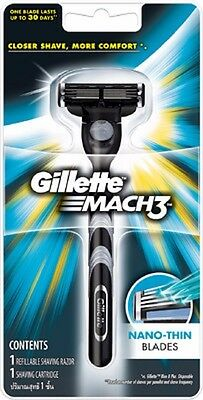 Gillette Mach 3 Mach3 M3 Classic Razor Handle New + Pre loaded Cartridge New
