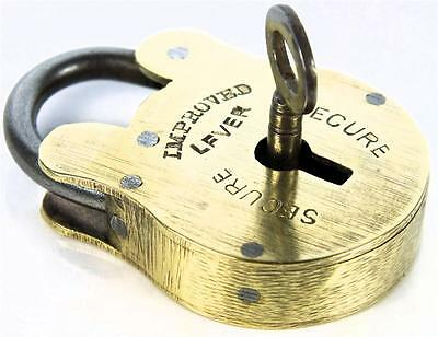 Antique Brass Padlock ' Secure Improved Lever ' with Key - My Ref P108