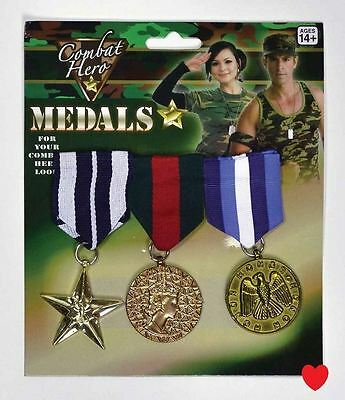 war medals military army gold armed forces heroes fancy dress 3 PACK