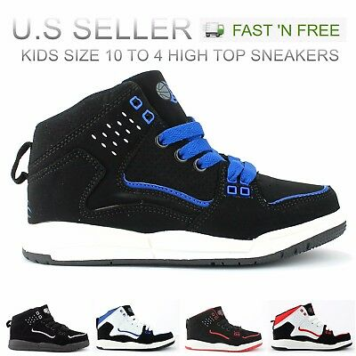 Kid's Boy's High Top Sneakers Shoes Basketball Skateboard Lace Up Lightweight