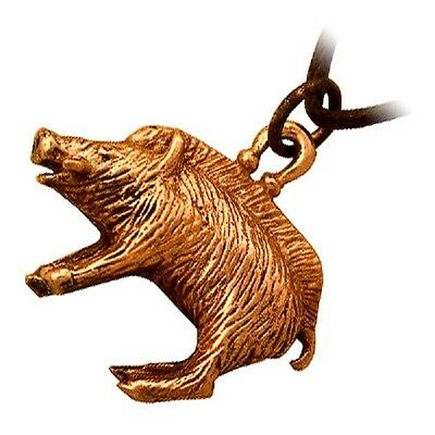 Bronze Wild Boar Celtic Pendant Necklace, a Symbol of Courage and Strength