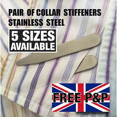 Shirt Collar Stiffeners 5 Sizes 56 59 64 70 76 mm METAL STAINLESS STEEL STAYS