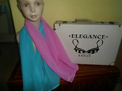2 NEW Mixed Fibre Ladies Scarf 1 x Cerise Pink 1 x Sky Blue Gift Idea #46