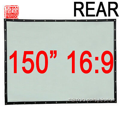 "150"" 16:9 PVC Material Back Rear Projection Screen Curtain for HD Projector Beam"