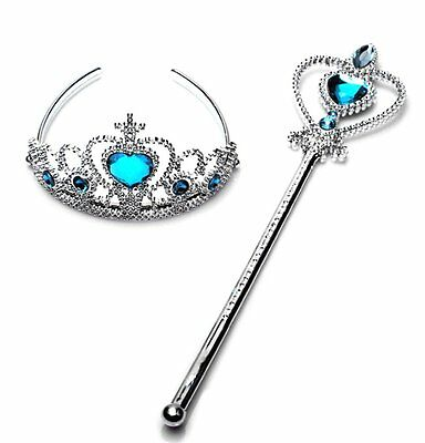 Frozen Princess Queen Anna Elsa Wand & Tiara Crown Dressing up Girl 2 Piece Set