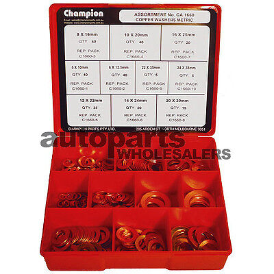 CHAMPION COPPER WASHERS METRIC ASSORTMENT KIT (260 Pieces)