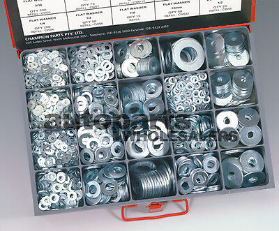 CHAMPION MASTER KIT FLAT & BODY STEEL WASHERS ASSORTMENT (2190 Pieces)