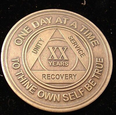 Alcoholics Anonymous AA 20 Year Bronze Medallion Token Coin Chip Serenity Sober
