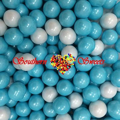 Pearly Baby Blue & White Sixlets Candy Balls 750G Lollies Candy Buffet Bulk