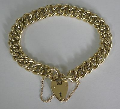 9Ct Yellow Gold Heavy Curb Link Padlock Bracelet 19Cm