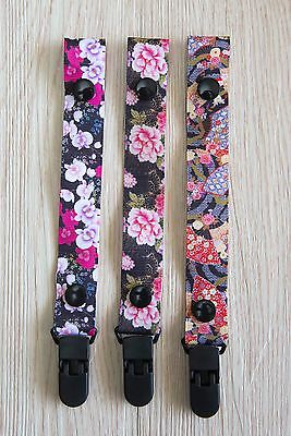 Baby Hand Made Dummy Pacifier Clip Chain Dummy Saver *Cool Floral*