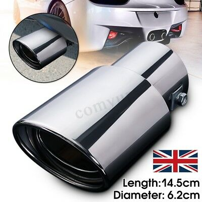 Universal Chrome Stainless Steel Car Rear Round Exhaust Pipe Tail Muffler Tip UK