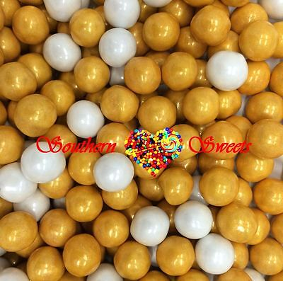 Pearly Gold & White Sixlets Candy Balls 750G Lollies Candy Buffet Wedding