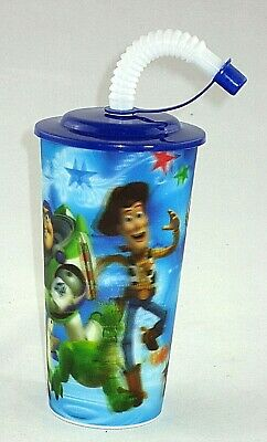 50 X 3D Image Toy Story Plastic Kids Water Drink Straw Cups 400 ml BPA Free
