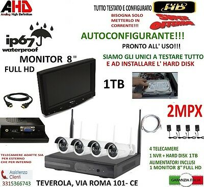 Kit Wireless Videosorveglianza Ahd 2Mp Dvr Full Hd 4 Telecamere 1Tb + Monitor 8""