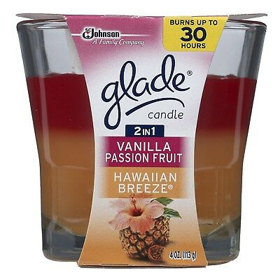 Glade 75361 4 Oz 2 In 1 Hawaiian Breeze & Vanilla Passion Fruit Candle,No 75361
