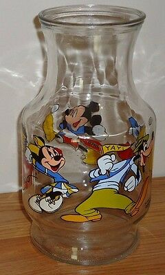 "Disney glass JUICE JAR Pitcher 9"" Mickey Mouse & Gang baseball tennis cheering"