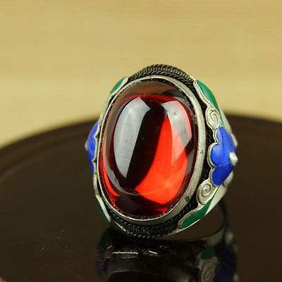 Chinese Cloisonne Ring Tibet silver inlay zircon beautiful and noble fashion