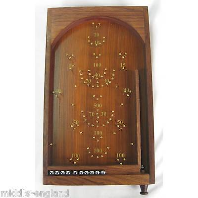 Bagatelle Traditional Table Top Game 20Cm X 36Cm Solid Wood/brass Pinball Game