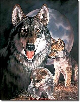 "16"" X 12.5"" Embossed Wolves Tin Sign  -VERY NICE-FREE USA SHIPPING-MADE IN USA"