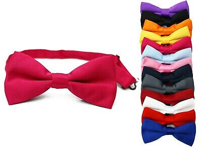 Classic Mens Womens Clip-On Banded Bow Tie Pre Tied Plain Dickie Bowtie