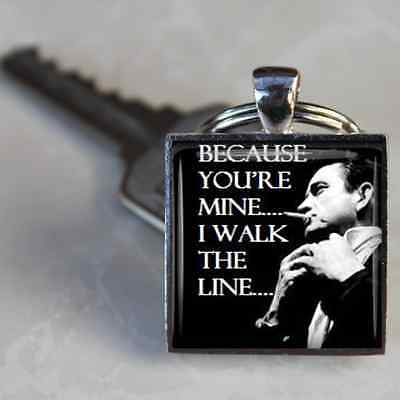 Johnny Cash Keyring I walk The Line Lyrics handmade keyring johnny cash gift