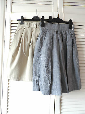 2x Vintage Retro 90s Rockabilly High Waisted Culotte Shorts Grey Beige XS 6