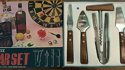 vintage 5 piece barset  stainless steel rosewood handles from japan