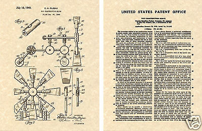 1940 Tinker Toy US Patent Art Print READY TO FRAME!! Vintage Building Toys