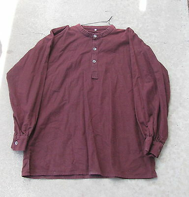 1860's Man's Maroon OVER SHIRT Heavy 100% Cotton Flannel Metal Buttons L or XL