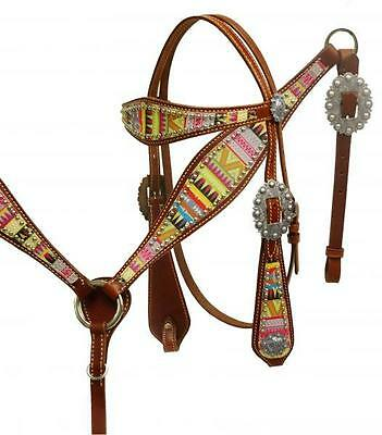 Showman Aztec design leather headstall and breast collar set! NEW HORSE TACK!