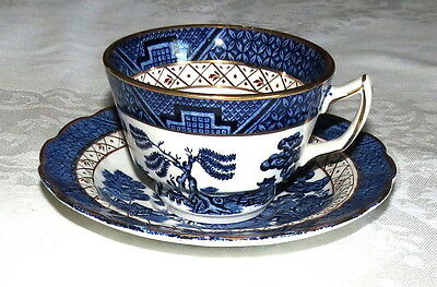 "Booths Real Old Willow A8025 2.1/2"" Tea Cup & Saucer - excellent"