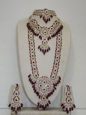 Indian Bollywood Bridal Jewellery  Set Golden Tone D-17 Maroon Color