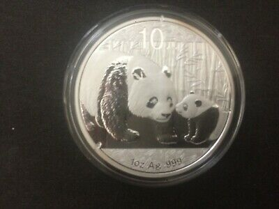 2011 China Silver Panda coin 1 oz .999 Fine 10 Yuan Chinese in Capsule