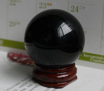 Natural Black Obsidian Sphere Large Crystal Ball Healing Stone 40MM+Stand