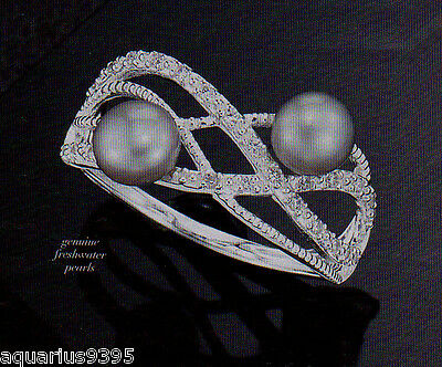 Sterling Silver Cubic Zirconia and Genuine Freshwater Pearls Ring Size 6 Avon