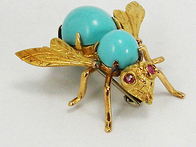 Antique Ruby Turquoise Insect Fly 18K Yellow Pin Brooch