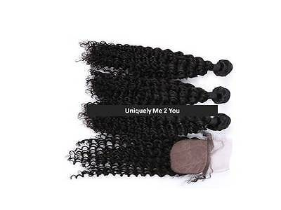 Deep Wave Virgin Indian Hair / Silk Base Closure & 3 Bundles / Natural Color
