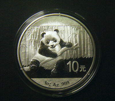 2014 China Silver Panda coin 1 oz .999 Fine 10 Yuan Chinese in Capsule