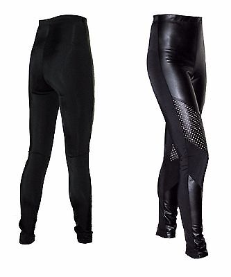 Ladies Size 8 Leggings in Stretch Leather Look & Matte Lycra