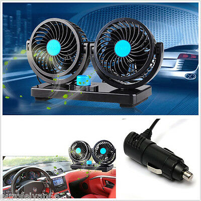 Practical 12V Dual Head 360° All-Round Car Truck Air Cooling Performance Fan Kit