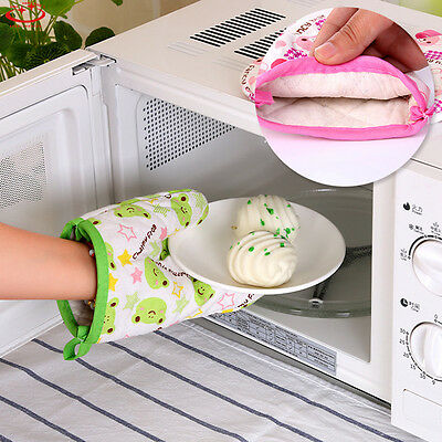 Cotton Heat Resistant Mitt Kitchen Baking Insulated Padded Thick Oven Gloves