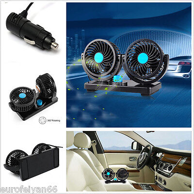 Black&Blue DC 12V Car Off-Road Dual Head 360° Rotatable Air Cooling Blower Fan