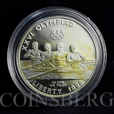USA 1 dollar, Atlanta Centennial Olympic Games, Rowing, silver proof 1996