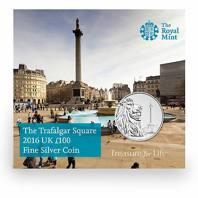 The Royal Mint Trafalgar Square 2016 UK £100 Fine Silver Coin - UK16100P