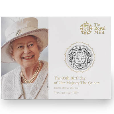 The Royal Mint Queen's 90th Birthday 2016 UK £20 Fine Silver Coin-UK1620QU