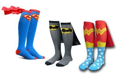 New Unisex Comic Hero Costume Wonder Woman Batman Superman Cape Socks Knee High