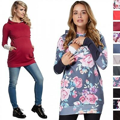 Happy Mama. Women's Nursing Hoodie Breastfeeding Contrast Detail Maternity. 137p