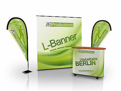 Messewand, Messeset Mini XL inkl. Druck (L-Banner, Beachflags, Theke)